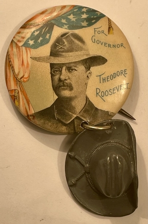 Pre-1920 CLASSIC TEDDY ROOSEVELT FOR GOVERNOR CAMPAIGN BUTTON W/ ROUGH RIDER THEME-MINT!