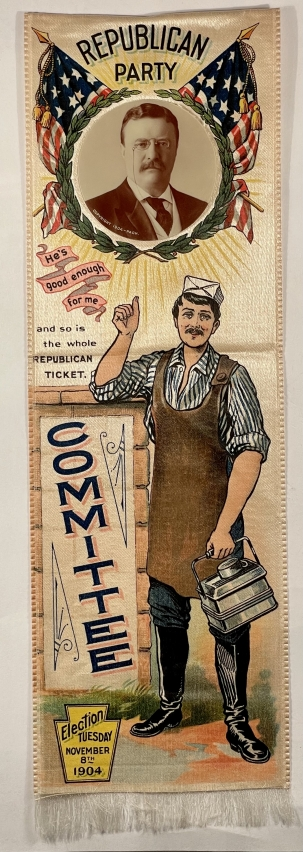 Pre-1920 1904 3 1/8″ X 9 1/2″ TEDDY ROOSEVELY SILK CAMAPIGN RIBBON W/ CELLO PHOTO-MINT!
