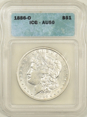 New Certified Coins 1886-O MORGAN DOLLAR – ICG AU-50