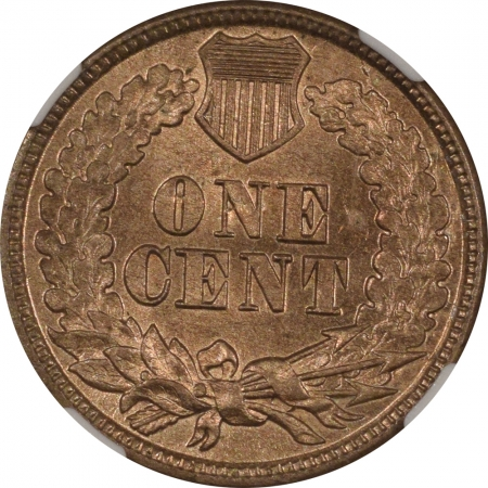 New Certified Coins 1860 INDIAN CENT – NGC MS-63, FLASHY CHOICE