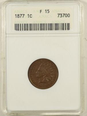 Indian 1877 INDIAN CENT – ANACS F-15, PLEASING KEY-DATE