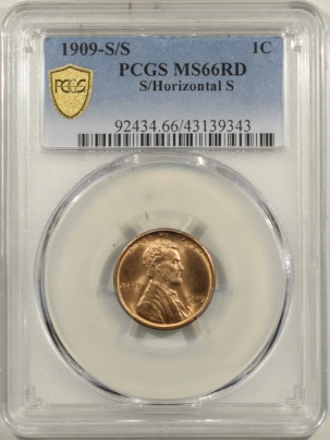 Lincoln Cents (Wheat) 1909-S/S LINCOLN CENT – PCGS MS-66 RD S/HORIZONTAL S, BLAZING RED!!