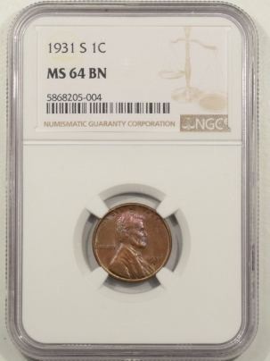 New Certified Coins 1931-S LINCOLN CENT – NGC MS-64 BN COLOR!