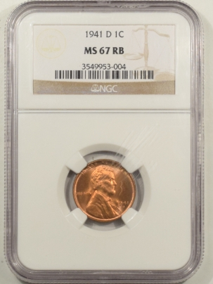 New Certified Coins 1941-D LINCOLN CENT – NGC MS-67 RB PRETTY, PREMIUM QUALITY!