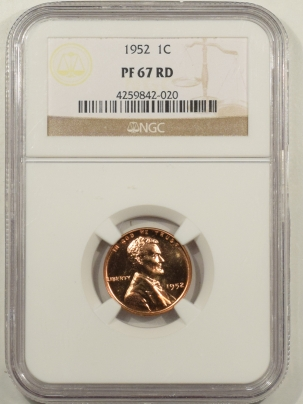 Lincoln Cents (Wheat) 1952 PROOF LINCOLN CENT – NGC PF-67 RD