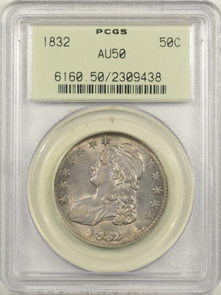 New Certified Coins 1832 CAPPED BUST HALF DOLLAR – PCGS AU-50 O-113 OGH & PREMIUM QUALITY!
