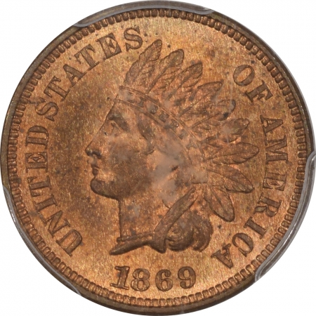 CAC Approved Coins 1869 INDIAN CENT – PCGS MS-64 RB PREMIUM QUALITY! CAC APPROVED!