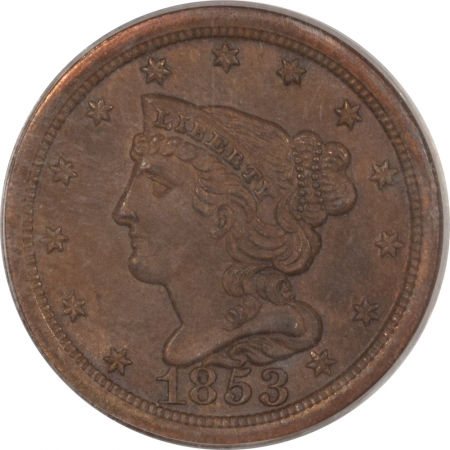 New Certified Coins 1853 BRAIDED HAIR HALF CENT – PCGS MS-65 BN