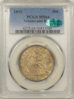 CAC Approved Coins 1853 SEATED LIBERTY HALF DOLLAR – ARROWS & RAYS – PCGS MS-64 CAC APPROVED