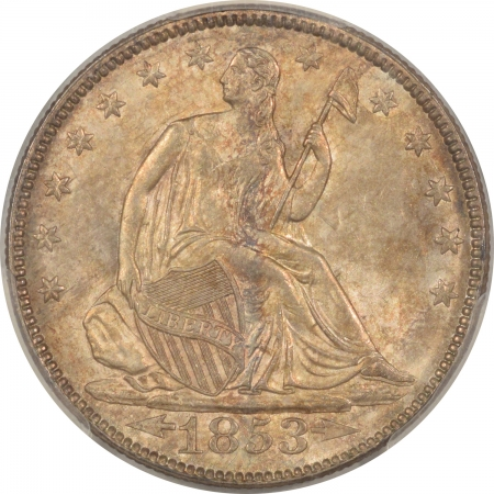 New Certified Coins 1853 SEATED LIBERTY HALF DOLLAR – ARROWS & RAYS – PCGS MS-64 CAC APPROVED