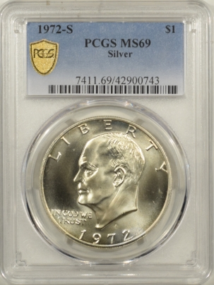 Coin World/Numismatic News Featured Coins 1972-S EISENHOWER SILVER DOLLAR – PCGS MS-69, RARE! PCGS TOP POP!