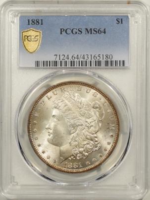Morgan Dollars 1881 MORGAN DOLLAR PCGS MS-64, FRESH & PQ!