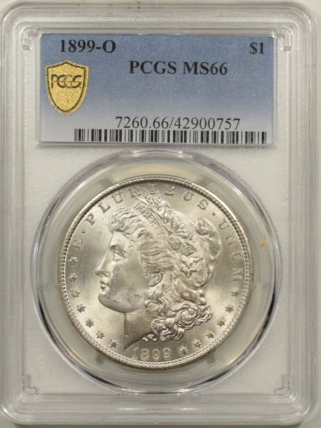 New Certified Coins 1899-O MORGAN DOLLAR – PCGS MS-66 BLAST WHITE!