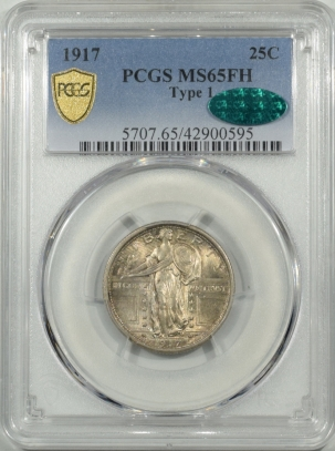 CAC Approved Coins 1917 STANDING LIBERTY QUARTER – TY I – PCGS MS-65 FH CAC