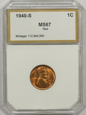 Lincoln Cents (Wheat) 1940-S LINCOLN CENT – PCI MS-67 RED, (LOOKS 66 RED TO US), BUT NICE COIN