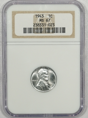 New Certified Coins 1943 LINCOLN STEEL CENT – NGC MS-67