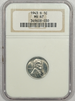 New Certified Coins 1943-S LINCOLN STEEL CENT – NGC MS-67