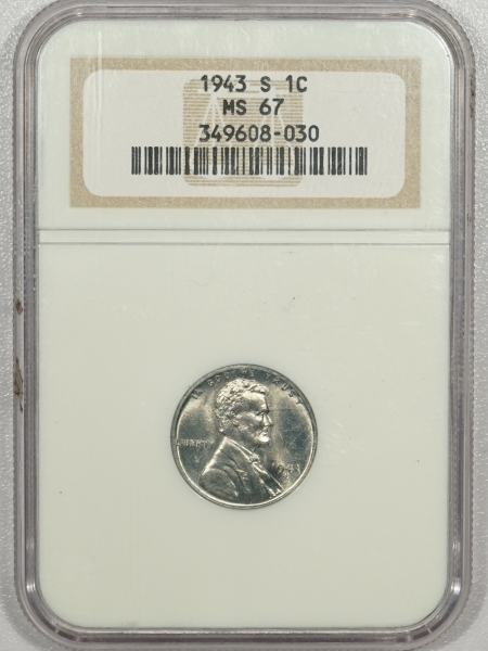 Lincoln Cents (Wheat) 1943-S LINCOLN STEEL CENT – NGC MS-67