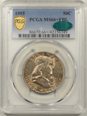 CAC Approved Coins 1955 FRANKLIN HALF DOLLAR – PCGS MS-66+ FBL ONLY 21 HIGHER! CAC APPROVED!