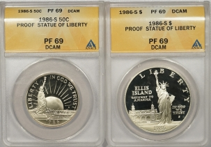 New Certified Coins 1986-S $1 & 50c PROOF STATUE OF LIBERTY COMMEMORATIVE LOT/2 – ANACS PF-69 DCAM