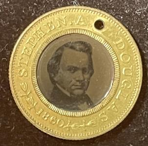 Pre-1920 1860 DOUGLAS-JOHNSON 1″ FERROTYPE, UNCIRCULATED, DeWITT #SD-1860-34