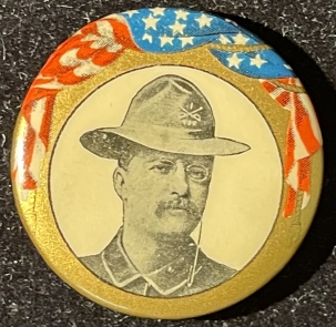 Pre-1920 1904 TEDDY ROOSEVELT W/ UNIFORM & ROUGH RIDER HAT 1 1/4″ CAMPAIGN BUTTON-MINT!