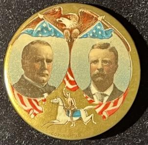 Pre-1920 RARE & GRAPHIC 1900 1 3/4″ McKINLEY-TR JUGATE W/ ROUGH RIDER, MULTICOLOR & MINT!