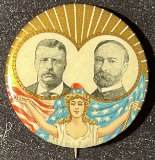 Pre-1920 1904 ROOSEVELT-FAIRBANKS GRAPHIC 1 1/4″ JUGATE BUTTON, COLORFUL, MINT/BACK-PAPER