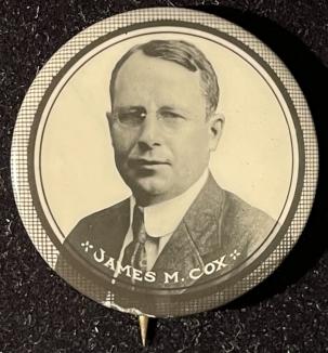 Pre-1920 RARE 1920 1 1/4″ JAMES COX PHOTO CAMPAIGN BUTTON-SCARCE SIZE & UNIMPROVABLE COND