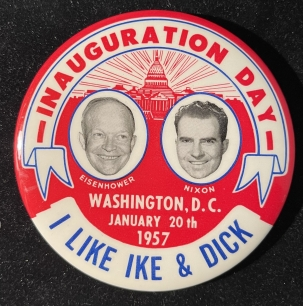 """Post-1920 SCARCE """"I LIKE IKE & DICK"""" INAUGURATION DAY 3 1/2″ BUTTON, R/W/B, GRAPHIC & MINT"""