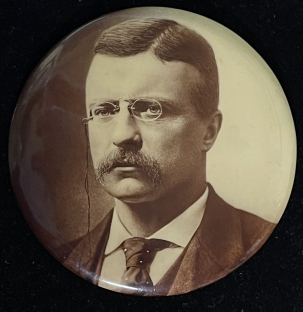 Pre-1920 1904 3 1/2″ TEDDY ROOSEVELT SEPIA PHOTO CAMPAIGN BUTTON, LARGE FORMAT & NR-MINT!