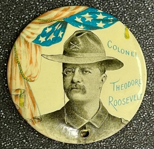 Pre-1920 1898 TEDDY ROOSEVELT (IN MILITARY UNIFORM) 1 3/4″ GOVERNOR CAMPAIGN BUTTON-MINT