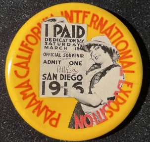 Pre-1920 RARE 2 1/8″ PAN-PACIFIC EXPOSITION DEDICATION DAY 3-16-16 BUTTON-GRAPHIC & MINT!