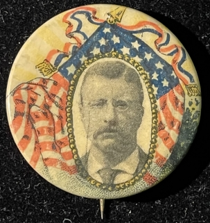 Pre-1920 SCARCE 1904 TEDDY ROOSEVELT 1 1/4″ PHOTO MULTICOLOR CAMPAIGN BUTTON-GRAPHIC/MINT