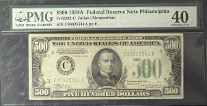 Coin World/Numismatic News Featured Coins 1934-A $500 FRN, PHILADELPHIA, FR-2202-C, PMG EF-40, BEAUTIFUL NOTE & FRESH!