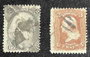 U.S. Stamps SCOTT #93 & #94 – USED, MINOR CREASES, BUT BASICALLY SOUND! CATALOG VALUE $65
