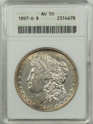 Coin World/Numismatic News Featured Coins 1897-O MORGAN DOLLAR, ANACS AU-50, ATTRACTIVE, STRONG UNDERLYING LUSTER, OWH!