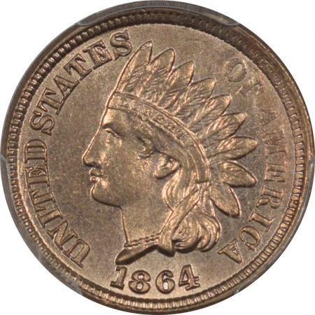 New Certified Coins 1864 C/N INDIAN CENT, COPPER NICKEL, PCGS MS-64, FLASHY & PQ!