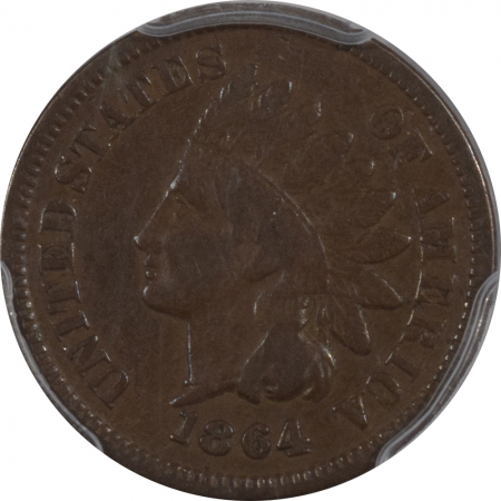 Coronet Head Large Cents 1864-L INDIAN CENT, L ON RIBBON, PCGS VF-30