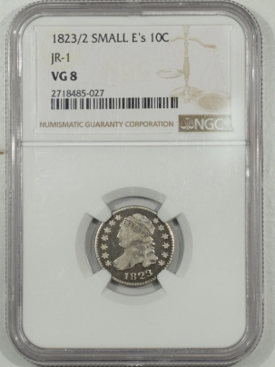 Coin World/Numismatic News Featured Coins 1823/2 SMALL Es CAPPED BUST DIME JR-1 – NGC VG-8
