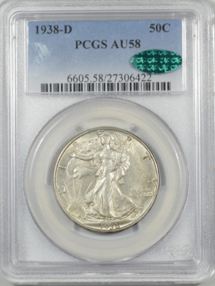 CAC Approved Coins 1938-D WALKING LIBERTY HALF DOLLAR – PCGS AU-58 ORIGINAL, PQ & CAC APPROVED!
