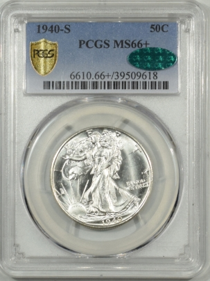 CAC Approved Coins 1940-S WALKING LIBERTY HALF DOLLAR – PCGS MS-66+ BLAZING WHITE, PQ, CAC APPROVED