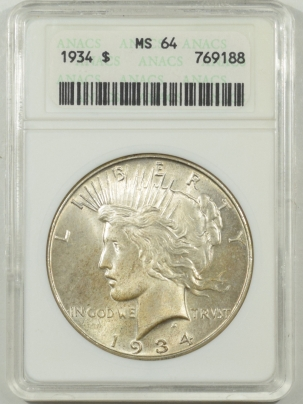 Coin World/Numismatic News Featured Coins 1934 PEACE DOLLAR – ANACS MS-64 OLD WHITE HOLDER, PREMIUM QUALITY!