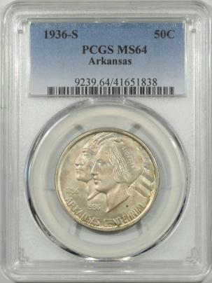 New Certified Coins 1936-S ARKANSAS COMMEMORATIVE HALF DOLLAR – PCGS MS-64