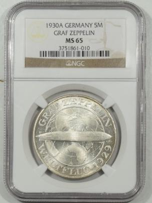 New Certified Coins 1930-A GERMANY SILVER 5 REICHSMARK, GRAF ZEPPLIN NGC MS-65, PRISTINE GEM, KM #68