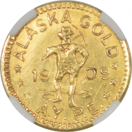New Certified Coins 1909 WA 1/4 DWT GOLD ALASKA-YUKON-PACIFIC EXPO HARTS COINS OF THE WEST NGC MS-62