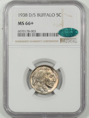 Buffalo Nickels 1938-D/S BUFFALO NICKEL – NGC MS-66+ PREMIUM QUALITY & CAC APPROVED!