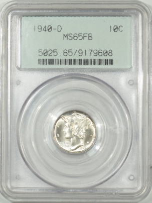 Coin World/Numismatic News Featured Coins 1940-D MERCURY DIME – PCGS MS-65FB 66 QUALITY, OLD GREEN HOLDER, PQ!