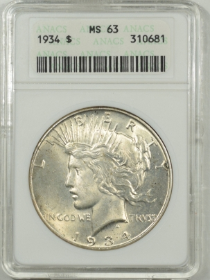 New Certified Coins 1934 PEACE DOLLAR – ANACS MS-63 OLD WHITE HOLDER!