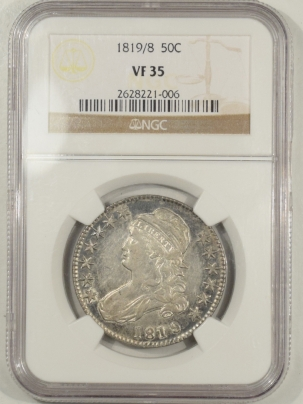 Coin World/Numismatic News Featured Coins 1819/8 CAPPED BUST HALF DOLLAR – SMALL 9 – NGC VF-35, PRETTY!